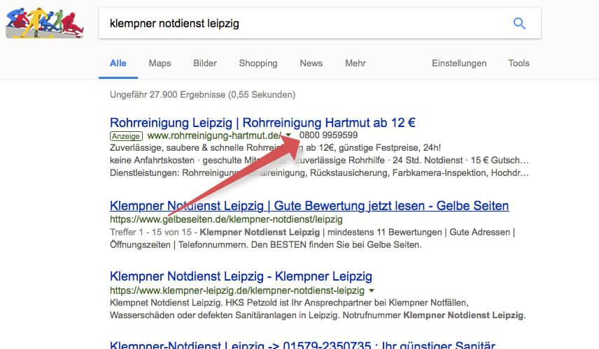 Google Adwords Anruferweiterung
